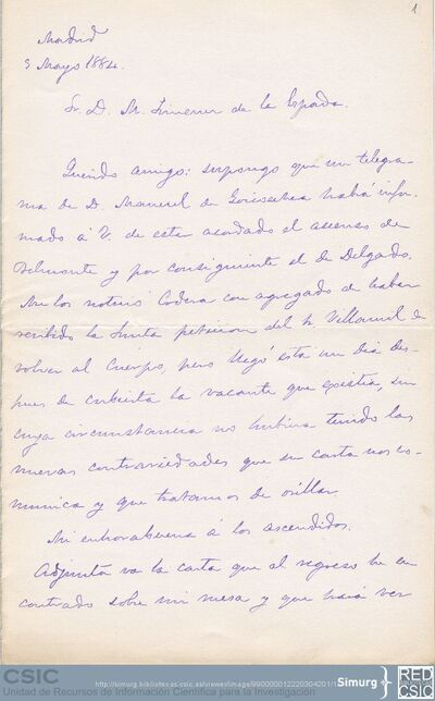 Cesáreo Fernández Duro comunica a Marcos Jiménez de la Espada el ascenso de los señores Belmonte y Delgado en el Archivo de Indias y le comenta un mapa sobre la cuestión de límites entre Colombia y Venezuela