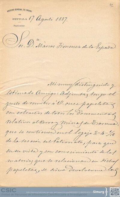 Carlos Jiménez Placer envía a Marcos Jiménez de la Espada varias reseñas sobre las minas de Zaruma para que seleccione las de su interés