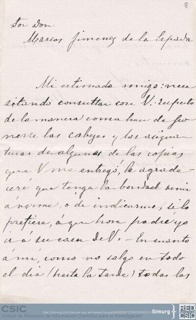 Gaspar Muro solicita a Marcos Jiménez de la Espada que le indique el modo en que debe poner las cabezas y las asignaturas a los documentos que le copie