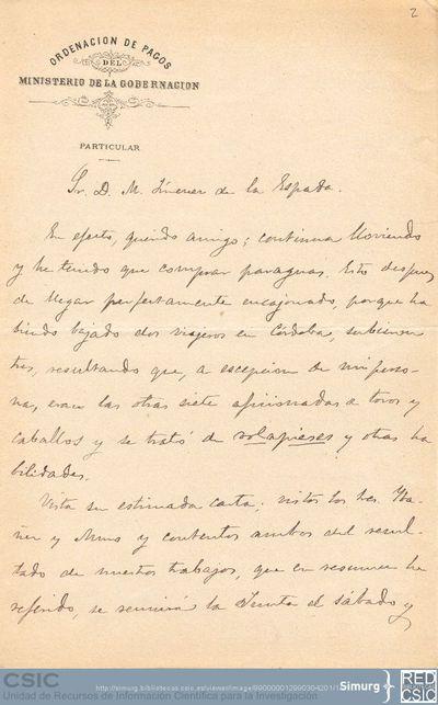Cesáreo Fernández Duro comunica a Marcos Jiménez de la Espada que él y Justo Zaragoza han encontrado unos documentos sobre la Guayana que pueden interesarle