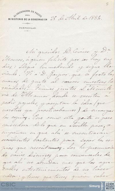 Justo Zaragoza informa a Marcos Jiménez de la Espada y a Cesáreo Fernández Duro de cómo avanzan los trabajos de copias de documentos que tienen pedidos al Archivo de Indias