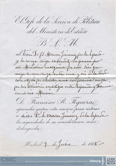 Francisco R. Figueroa pide a Marcos Jiménez de la Espada que dé en el Ministerio de Estado una conferencia sobre los territorios en litigio entre España y Francia en el Río Muni