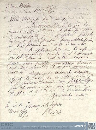 Desiré Pector comunica a Jiménez de la Espada que se informará de la desaparición de las pruebas cromolitografiadas de los vasos peruanos y solicita los textos de las conferencias enviadas al Congreso de Americanistas de París