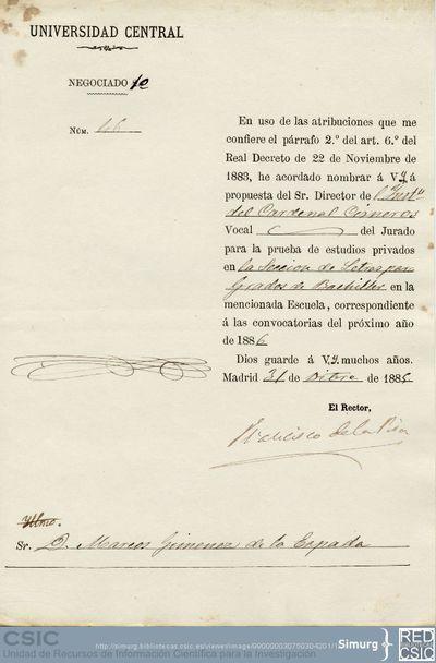 Nombramiento de Jiménez de la Espada como miembro del jurado para los exámenes de la Sección de letras para grados de bachiller del Inst. Cardenal Cisneros