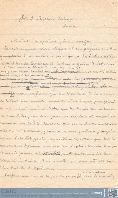 Marcos Jiménez de la Espada comunica a Ricardo Palma el envío de diez ejemplares del artículo que ha escrito sobre M.Toribio González de la Rosa