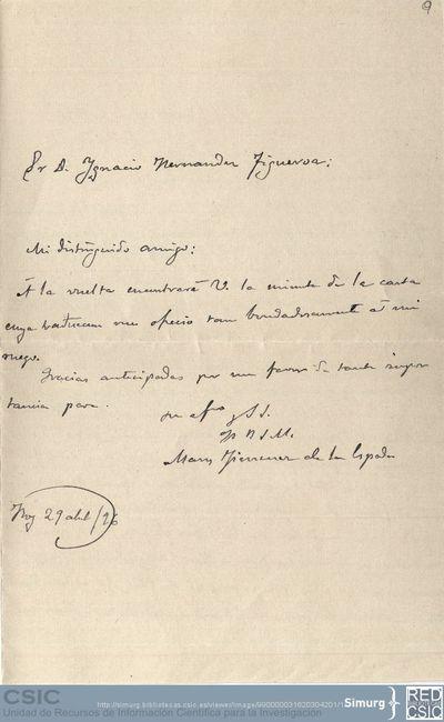 Marcos Jiménez de la Espada envía a Ignacio Hernández Figueroa una copia de la carta que escribió a los señores Trübner con fecha de 21 de abril de 1896
