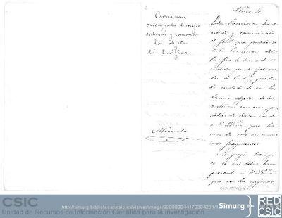 Mariano de la Paz Graells informa al Director de Instrucción Pública del mal estado en el que ha recibido un fósil enviado por la Comisión Científica del Pacífico a través del cónsul de Cádiz