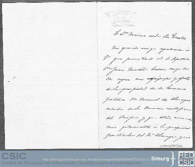 Eugenio de Ochoa ruega a Mariano de la Paz Graells que permita que Juan Modet se haga cargo del equipaje de su hermano político Manuel de Almagro
