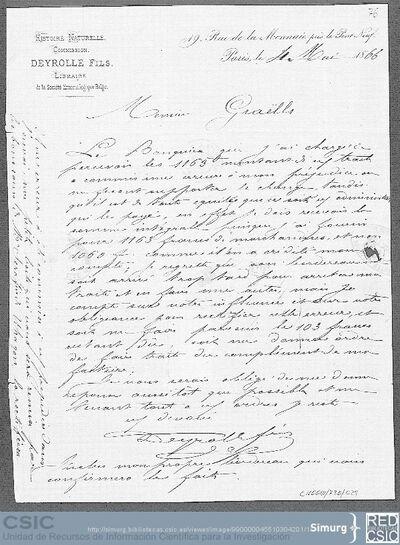 Mr. Deyrolle comunica a Mariano de la Paz Graells que ha habido un error y en lugar de recibir 1163 francos ha recibido 1060, así mismo le informa que por error le queda una cajita que se la remitirá