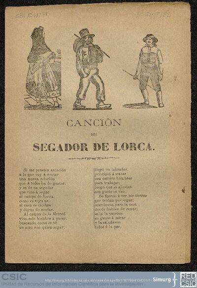 [Pliegos de cordel (Marés y Compañia)]; Canción del segador de Lorca
