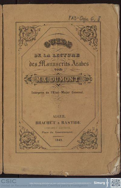 Guide de la lecture des manuscrits arabes