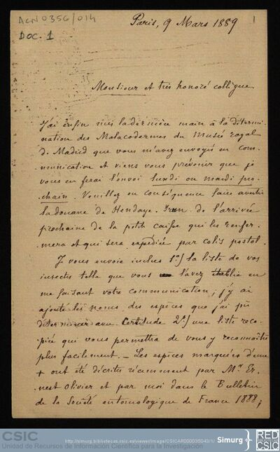 Personal Científico | Ignacio Bolívar y Urrutia; Correspondencia de Jules Bourgeois con Ignacio Bolívar