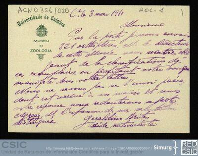 Personal Científico | Ignacio Bolívar y Urrutia; Correspondencia de Geraldino Brites con Ignacio Bolívar