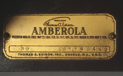 Edison Amberola 50 phonograph: trademark plate