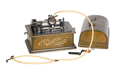 Edison Standard  phonograph with repeater device: the bentwood lid