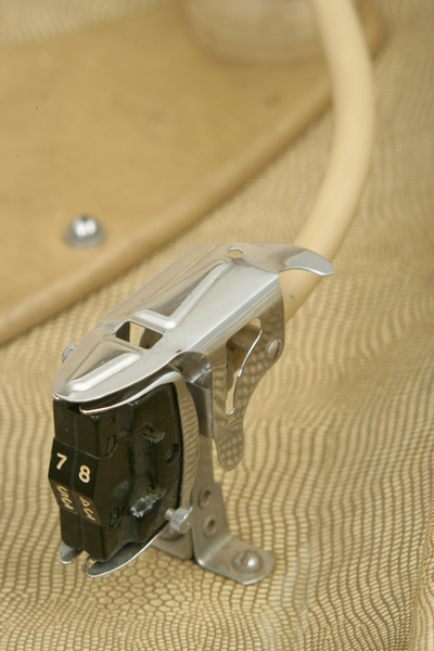 HMV record player: close-up of tone arm and cartridge