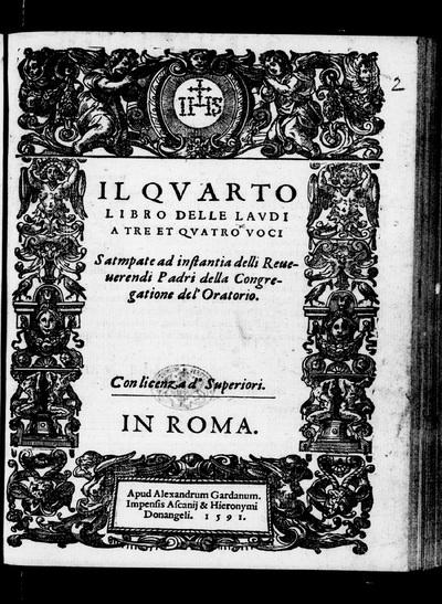 Il quarto libro delle laudi a tre et quatro voci.