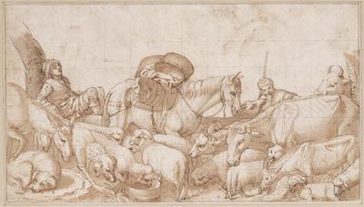 Herders met vee en een pakpaard