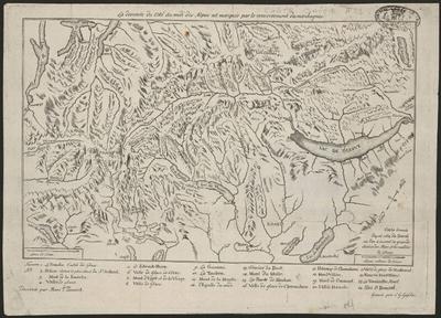 Carte dressée d'après celle de Duval où l'on a inserré la grande chaîne des Alpes et les vallées de glaces