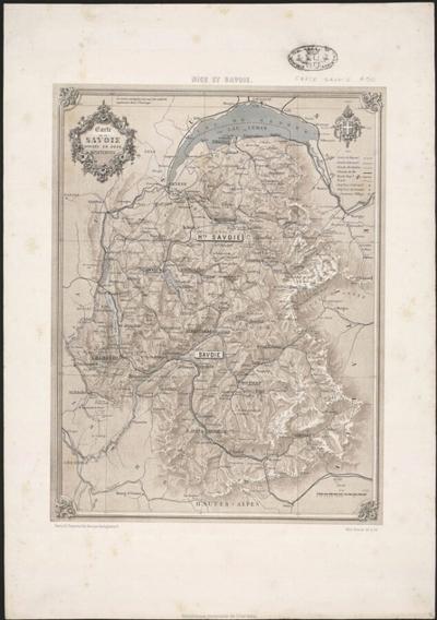 Carte de la Savoie divisée en deux départements