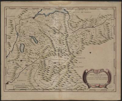 Carte de Savoye et des païs de Genevois, Faussigni, Chablais, Morienne, et Tarentaise