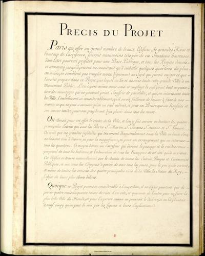 Projet d'une place publique à la gloire de Louis quinze