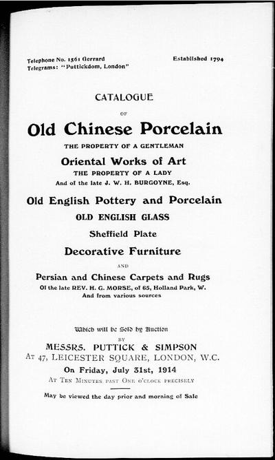 Catalogue of old Chinese porcelain […] : [vente du 31 juillet 1914]