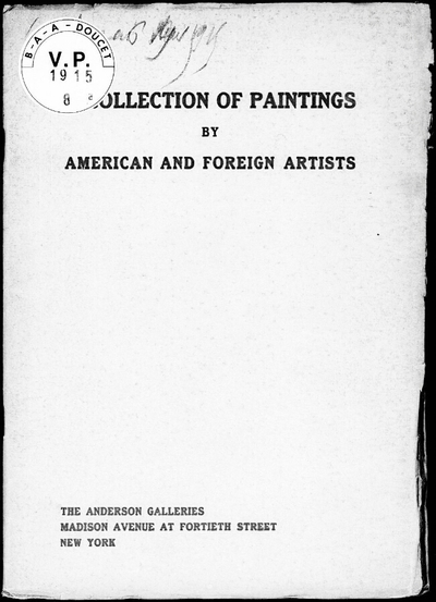 Collection of paintings by American and foreign artists […] : [vente des 6 et 7 mai 1915]
