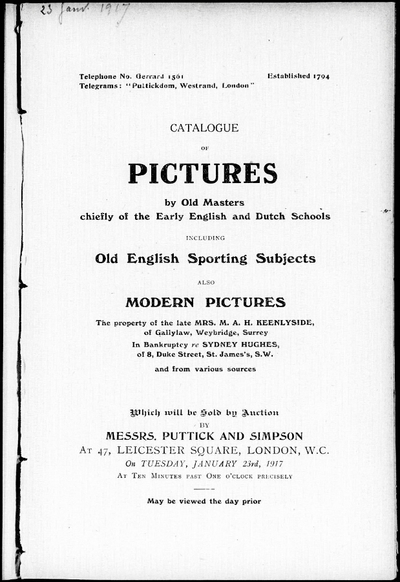 Catalogue of pictures by old masters chiefly of the early English and Dutch schools […] : [vente du 23 janvier 1917]