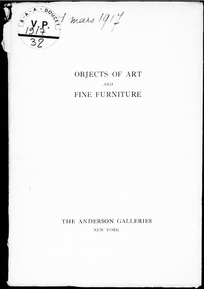Important collection of objects of art and fine furniture […] : [vente du 14 au 17 mars 1917]