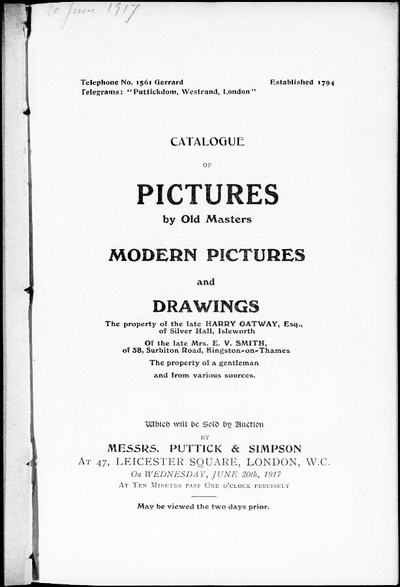 Catalogue of pictures by old masters, modern pictures and drawings […] : [vente du 20 juin 1917]