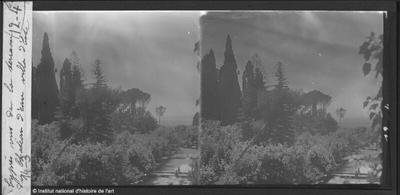 [Tivoli] Villa d'Este. Cyprès vus de la terrasse du Château d'eau