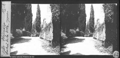 [Tivoli] Villa Hadriana. Entrée de la Villa. Cyprès