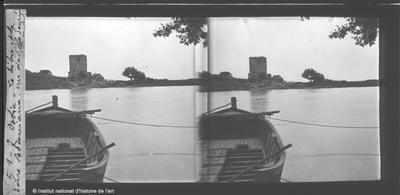 Ostie. Le Tibre et la Torre Bovacciana, vue de l'Ile Sacrée