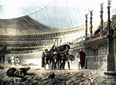 Gladiatorem begrüßen den Kaiser