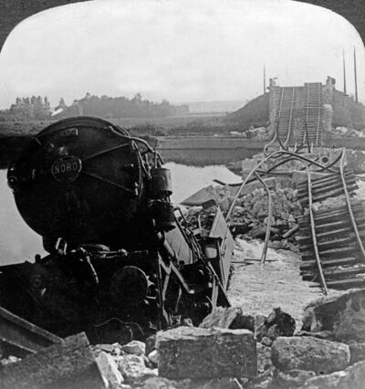 Tangled ruins of Marne bridge