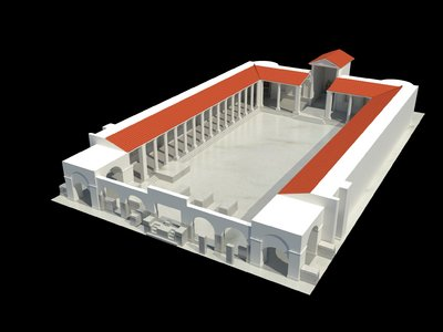 Video of 3D model of Augusteum at Herculaneum with statues and frescoes