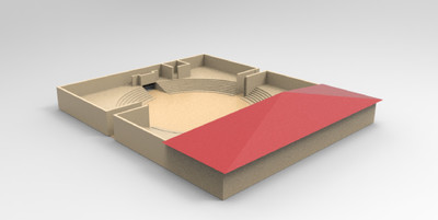Images of 3D model of Comitium at Paestum