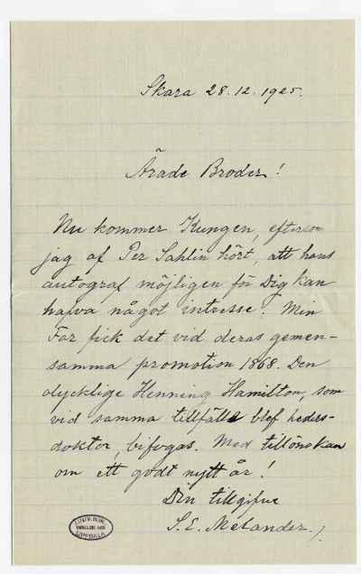 [Letter] 1925-12-28, Skara