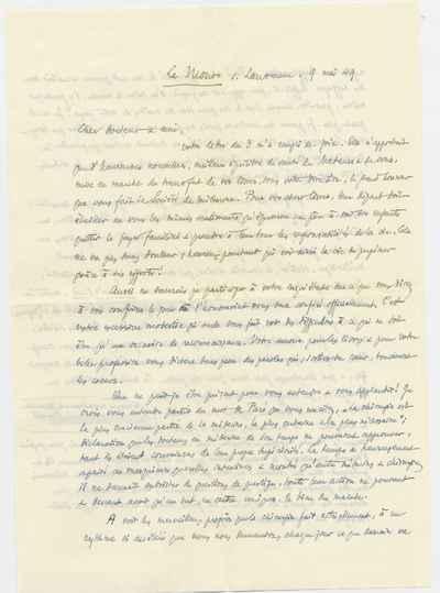 [Letter] 1949-05-09, Le Mont--sur-Lausanne