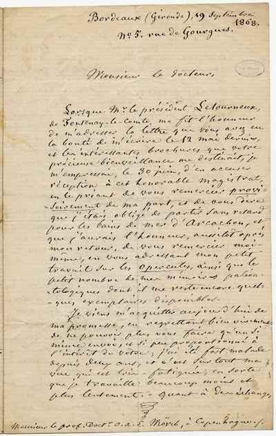 [Letter] 1868-09-19, Bordeaux