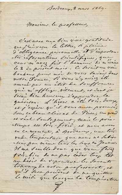 [Letter] 1869-03-08, Bordeaux [to] Otto Andreas Lowson Mørch