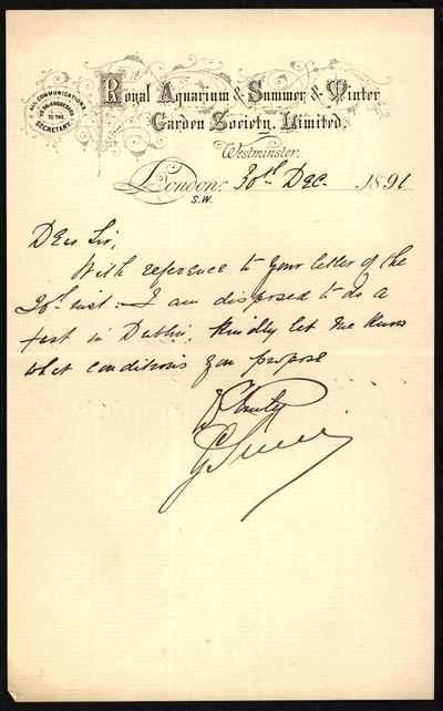 [Letter] 1891-12-30, London
