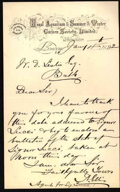 [Letter] 1892-01-04, London