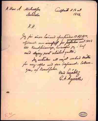 [Letter] 1848, Karlstad