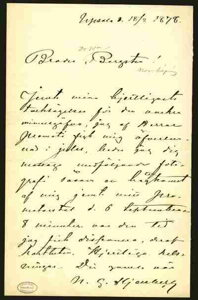 [Letter] 1878-02-18, Uppsala
