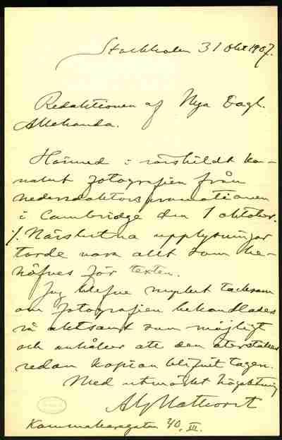 [Letter] 1907-10-31, Stockholm