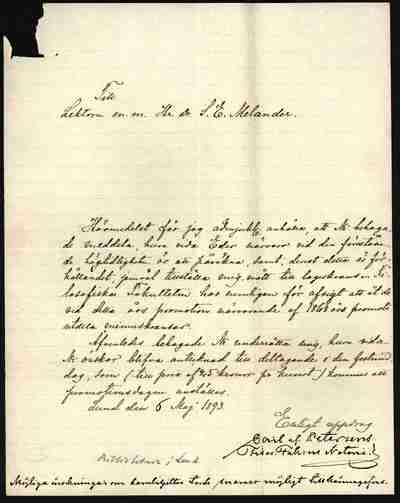 [Letter] 1893-05-06, Lund