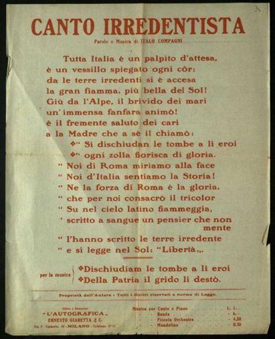 Canto Irredentista : Parole e musica / di Italo Compagni