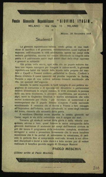 Studenti! / Fascio giovanile repubblicano Giovane Italia